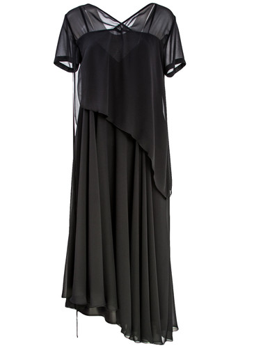 Layered Black Chiffon Maxi Dress | Arielle