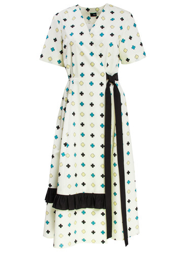 Off Yellow Midi Wrap Dress With Trendy Print And Bottom Folds | Doolittle