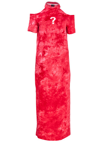 Red Tie Dye Midi Dress With White Question Mark Print | SHARON