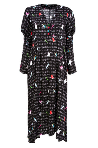 Black Dress With Puffed Sleeves And Print | Naia