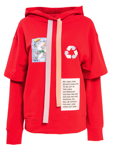 Red Sweat Hoodie With Prints | Berenice