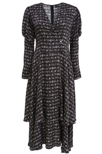Black Dress With Puffed Sleeves And Print | Barbara