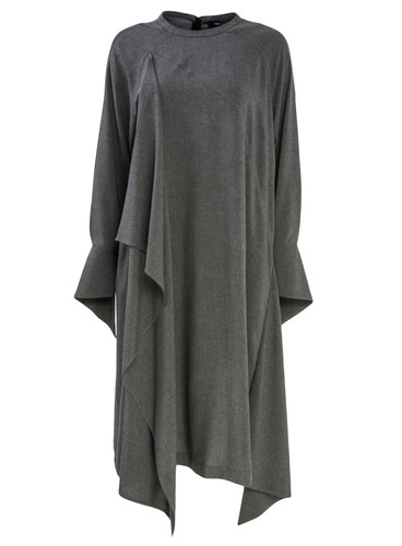 Gray Melange Dress With Flowing Details | Bailey