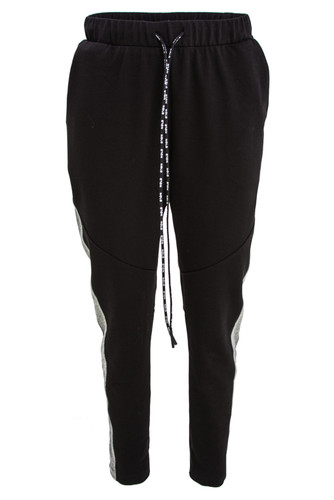 Black With Gray Sweat Track Pants | Maija