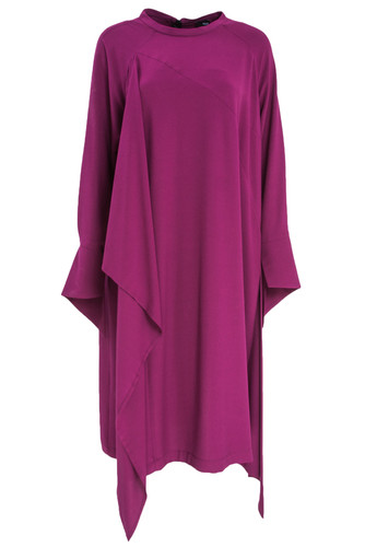 Magenta Midi Dress With Flowing Details