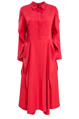 Red Fancy Draped Midi Dress | Gerda