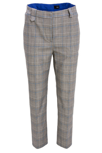 Gray Plaid Cropped Cigarette Trousers With Details | Vanessa