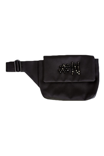 Black Sateen Belt Bag With Embroidery | Vilma