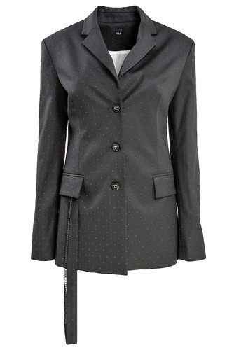 Black Speckled Semi Fitted Blazer With Strap Decor | Mare