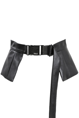Black Eco Leather Belt With Peplum | Laila