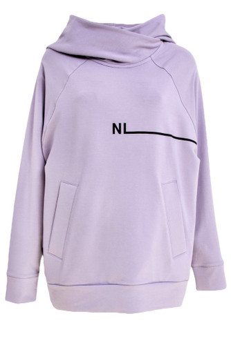 Lavender Oversized Sweat Hoodie With Print | MIka