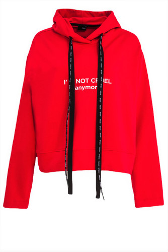 Red Slightly Cropped Sweat Hoodie With Print | Tedy