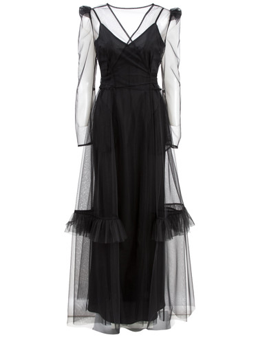 Black Tulle Maxi Dress With Frills | Bethany