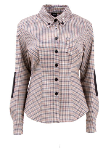 Chestnut Micro Check Shirt With Sleeve Elbow Patches| Arya