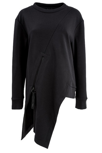 Black Asymmetric Sweat Pullover With Zipper | Jana