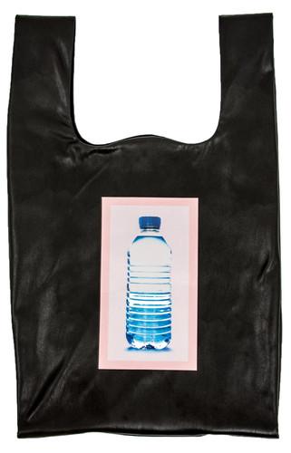 "Black Eco Leather Medium ""Plastic Bag"" With Print Bottle | Zaklin"