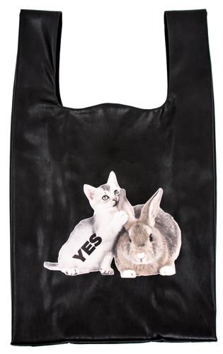 "Black Eco Leather Medium ""Plastic Bag"" With Print Friends | Zaklin"