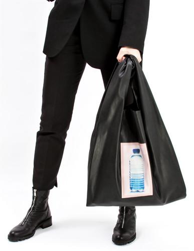 "Black Eco Leather Large ""Plastic Bag"" With Print Bottle | Zaklin"