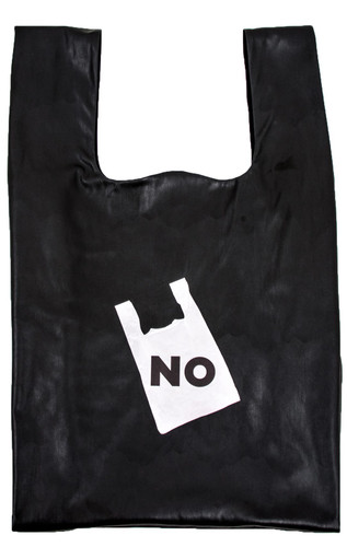 """Black Eco Leather Large """"Plastic Bag"""" With Print NO  Zaklin"""