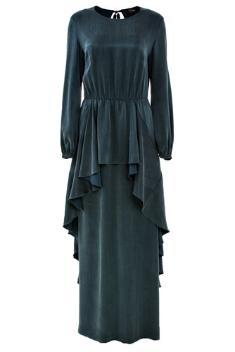 Emerald Green Maxi Gown With Front Ruffled Peplum | Sibilla