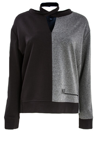 Black And Gray Sweat Pullover With Neck Strap | Brianna