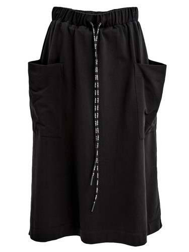 Black A-Silhouette Sweat Midi Skirt With Pockets   Casey