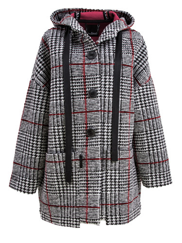 Gray Plaid Oversized Car Coat With Hood | Clementine