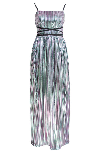 Silver Holographic Pleated Corset Maxi Gown | Aurelia