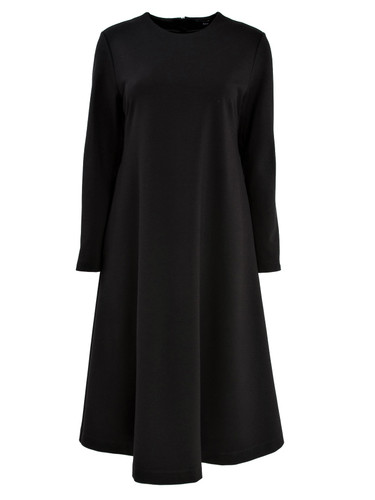 Black Flared Jersey Knee Length Dress | Raina