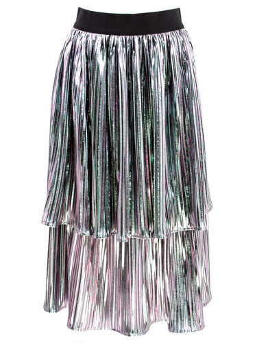 Silver Holographic Pleated Ruffled Knee Length Skirt | Kora