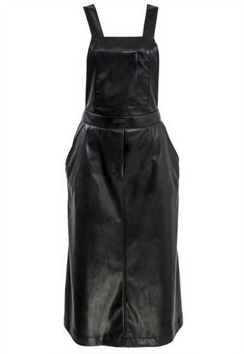 Black Eco Leather Overalls With Front Pocket | Gillian