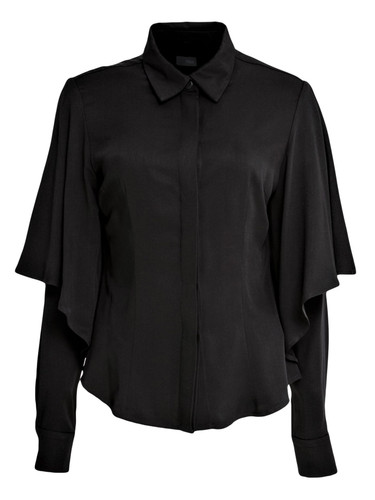 Black Blouse With Frilled Sleeves | Tabhita