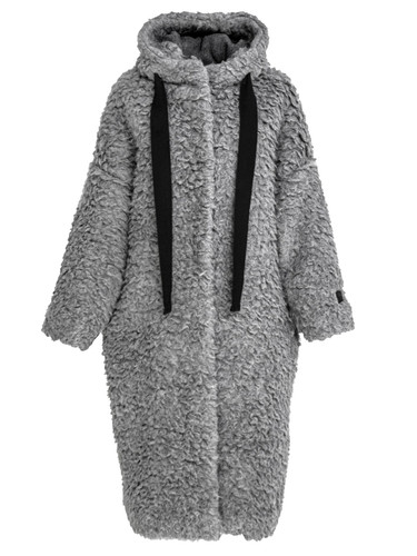 Gray Teddy Oversized Long Coat With Hood | Ethela