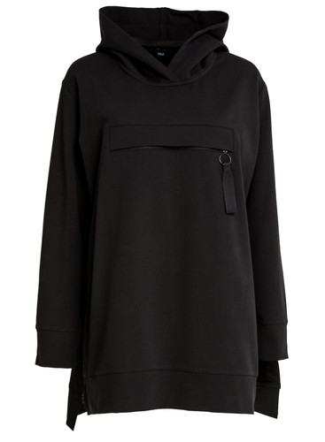 Black Oversized Sweat Hoodie With Front Pocket | Lilac