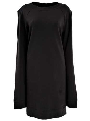 Black Sweat Knee Length Dress With Double Fancy Sleeves | Ellen