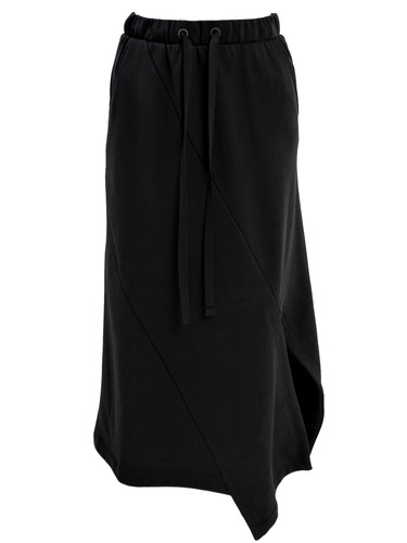 Black Sweat Asymmetric Midi Skirt | Shelly