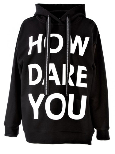 Black Catwalk Sweat Hoodie With Print | How Dare You