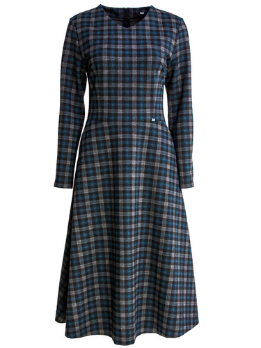 Plaid Jersey Midi Dress With Long Sleeves | Regina