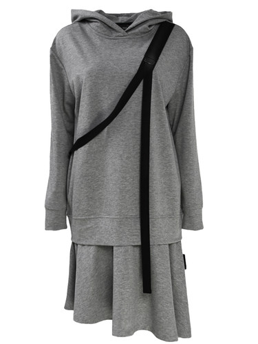 Gray Sweat Midi Dress With Asymmetric Hem And Hood| Nella
