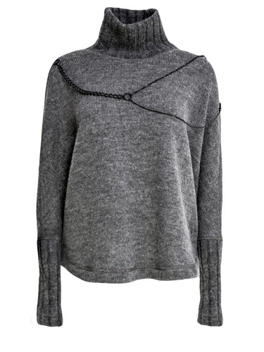 Gray Wool Knighted Jumper With Chain Decor | Vida