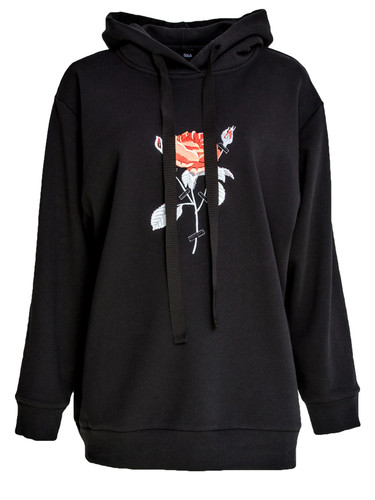 Black Sweat Hoodie With Embroidery | Rose