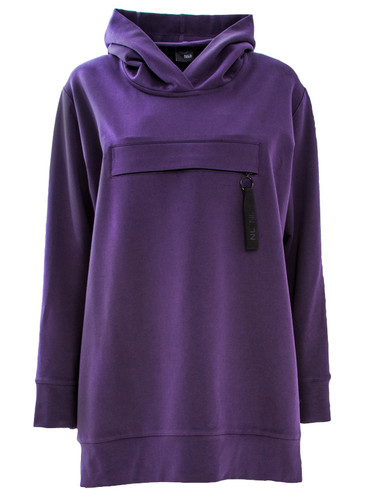 Purple Oversized Sweat Hoodie With Front Pocket   Lilac