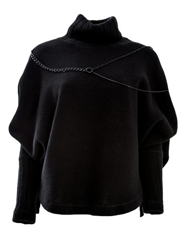 Black Wool Knighted Jumper With Chain Decor | Vida