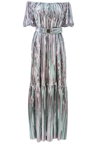 Silver Holographic Pleated Dress With Cold Shoulders | Virginia