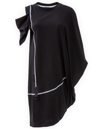 Black Asymmetric Dress With Draped Detail | Lianna