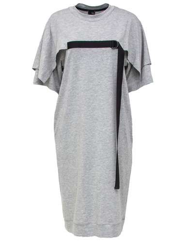 Gray Melange Midi Dress With Cape Effect | Gabriela