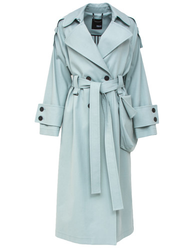 Dusty Mint Trench Coat With Waist Bag Detail | Irina
