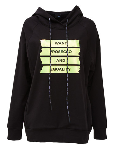 Black Sweat Pullover With Hood And Statement Print | Prosecco