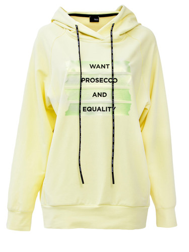 Lemon Sweat Pullover With Hood And Statement Print | Prosecco