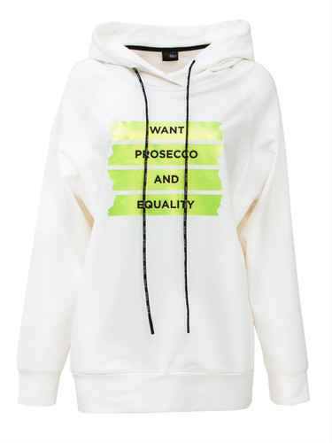 Ivory Sweat Pullover With Hood And Statement Print | Prosecco